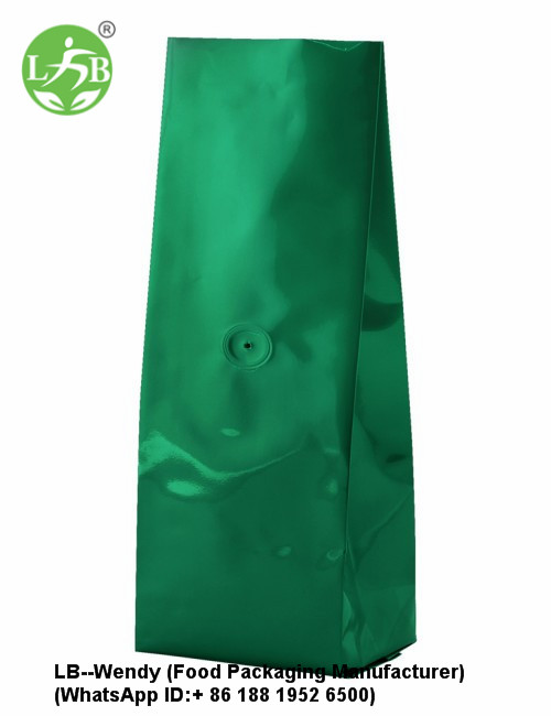 250g Green Flat Bottom Bag With Valve