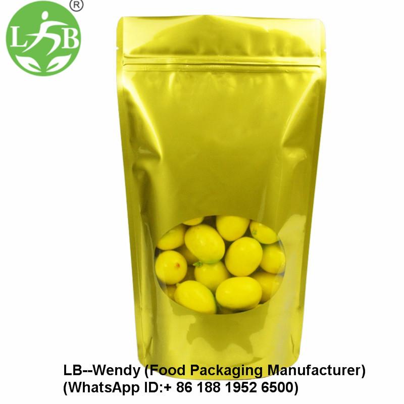 Gold printing widow zipper pouch